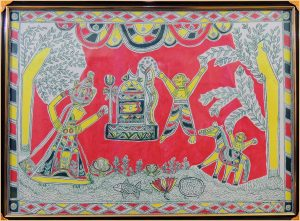 Chandu Saudagar & his wife Worshipping Lord Shiva in Manjusha Art
