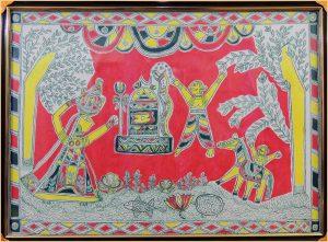 Chandu Saudagar & his wife Worshipping Lord Shiva in Manjusha Art