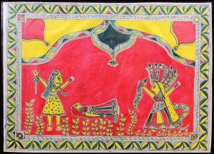 Lord Shiva, Mansa & Parvati Painting in Manjusha Art