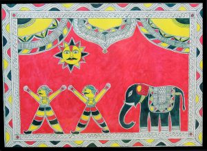 Painting of Elephant, Sun & Peoples of Champa in Manjusha Art