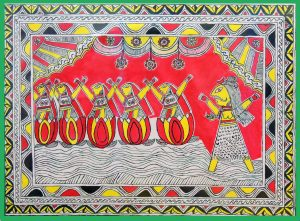 Painting of Birth of Mansa From Shiv Hair in Manjusha Art
