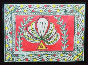 Champa Flower Painting in Manjusha Art