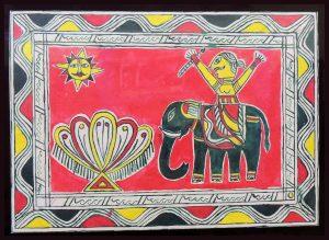 Painting of Chandu Saudagar on Elephant in Manjusha Art