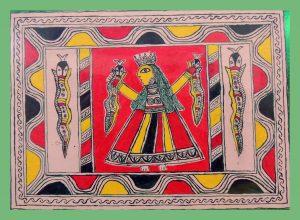 Bishari Devi Painting With Snake in Manjusha Art