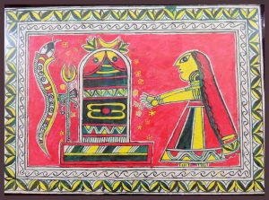 Lord Shiva Painting in Angika Art