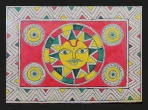 God Sun Painting in Manjusha Art