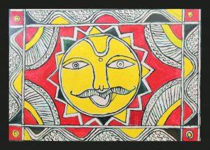 God Sun Painting in Angika Art
